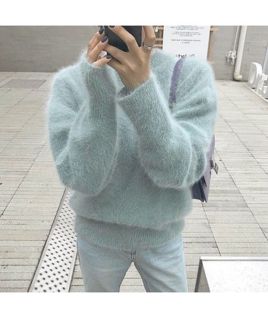 Chic Long Sleeve Knitting Sweater For 2018 Fashion O Neck Loose Casual Women Pullovers - baby blue - 4E3058757626-2