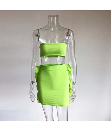 Sexy Neon Orange Halter Cris Cross Mini Skirt Two Piece Set Womens Stretchy Crop Top And Ruffles Skirt Set Wholesale - As Pi...