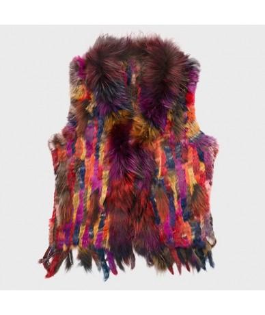 2019 new colors Women Genuine real Rabbit Fur Vest coat tassels Raccoon Fur collar Waistcoat wholesale drop shipping VR032 -...