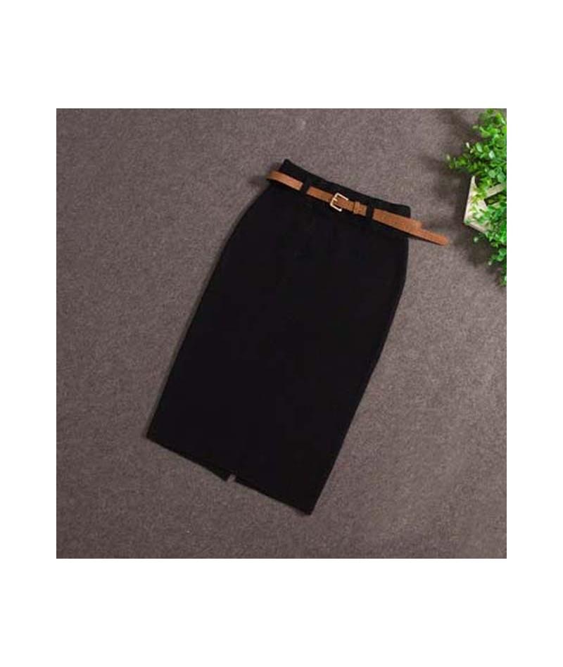 2017 Fashion Skirts Autumn winter Casual Women High Waist Knee-length Knitted Pencil Skirt Elegant slim Long Skirts Black Sk...