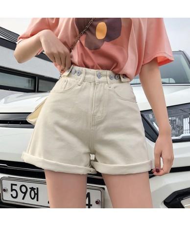 Women's Denim Shorts Classic Vintage High Waist Blue Wide Leg Female Caual Summer Ladies Shorts Jeans - Apricot - 5Y11118188...