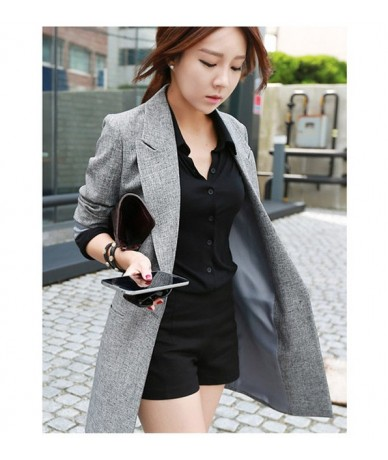 2019 Hot Selling Spring Women Casual Long Thin Blazers Coats Notched Collar Full Sleeve Single Button Fashion Cardigans Y99 ...