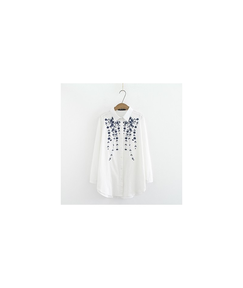 Plus size Cotton Embroidery loose women shirts 2019 NEW spring casual ladies soft long sleeve navy white blouse female overs...