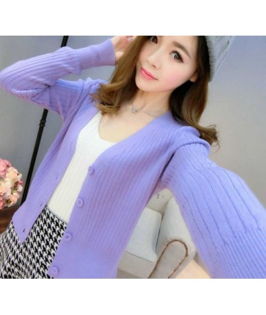 Autumn and winter sweater female cardigan thin slim solid color cashmere short design long-sleeve sweater outerwear - Lavend...