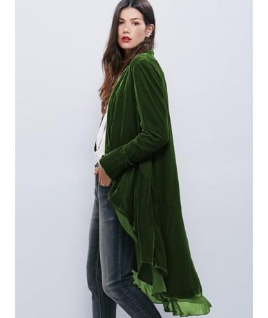 Velvet Women New Jackets Coats Chiffon Ruffles Elegant Long Chic Outerwear hot Female Slim Boho Maxi Overcoat - Green - 4S30...