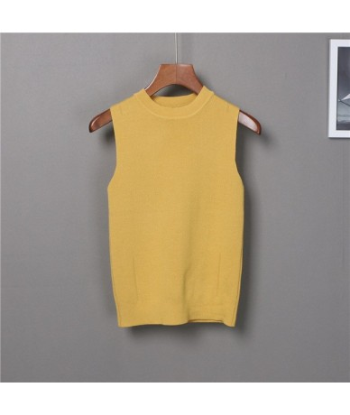 Women's Slim Knitting O-neck Simple Camisole Tops Female Knitted Tank Top Sleeveless Basic Solid T shirts for Girl - Yellow ...
