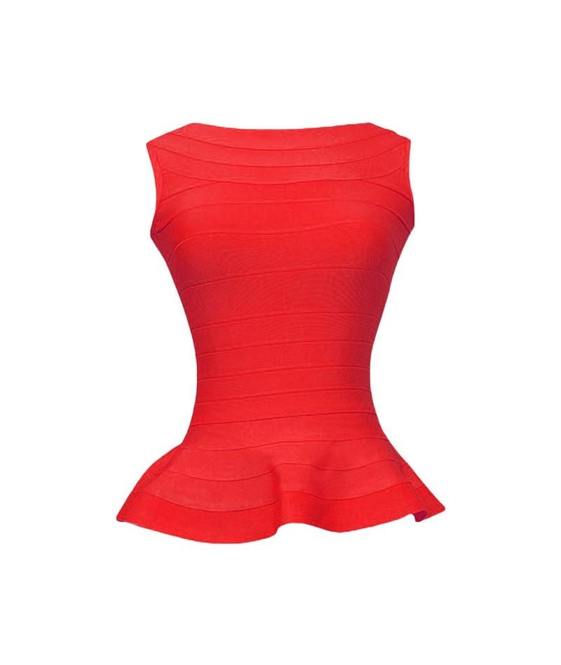Fashion Sleeveless Fishtail Tops Vest Slim Thin Waist Sexy Long Bandage Elastcs Tops Red Plus Size XL - Red - 4U3006577963-5