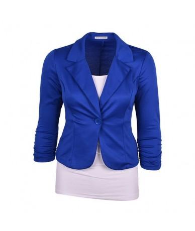 Women Blazer Single Button Long Sleeve Notched Collar Work Office Lady Slim Jacket Suit Female Business Coat Hot - Blue - 4B...