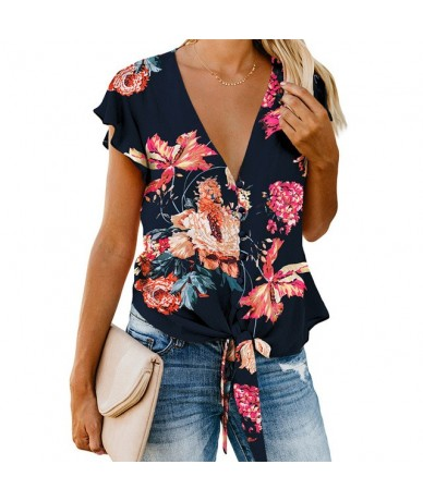 Summer Floral Print Blouse and Shirt Women New Sexy V Neck Ruffle Sleeve Tie Knot Button Down Blouses and Tops for Femme - B...