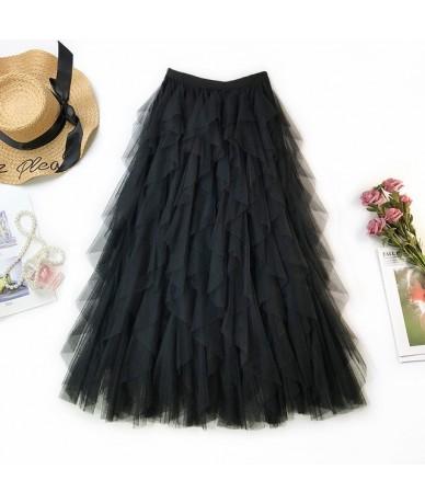 Women Mesh Skirt Ladies Elegant High Waist Midi Skirt Tulle Summer New Ruflfe Tutu Elastic Tulle Long Jupe Female Maxi Skirt...