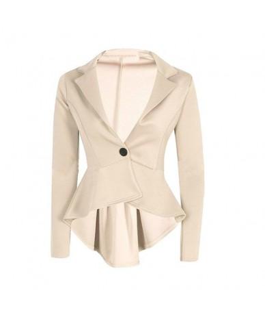 Peplum Blazer Newly Design Women Turn Down Collar Long Sleeve Frill Single Button Slim Formal Suit Coat 0724 - BG - 4W301115...
