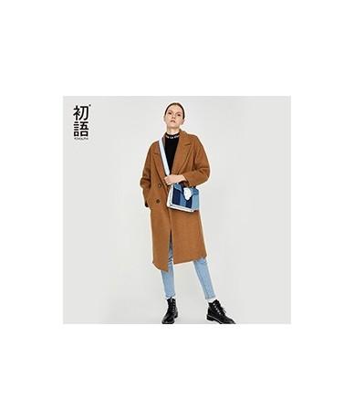 Woolen Winter Women Coats Casual Warm Thick Coat Abrigo Mujer Blend Overcoat Long Ladies Wool Pockets New Coat 2019 - Black ...
