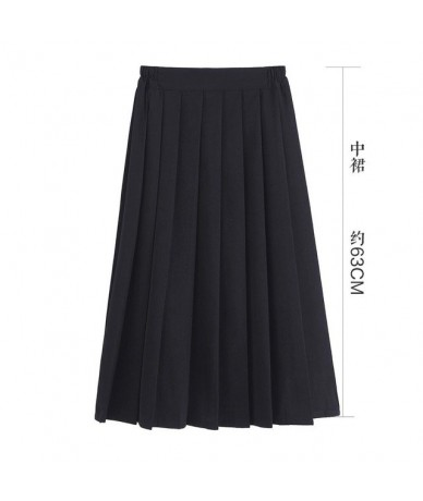 41/63/75cm Women Summer A-line Pleated Skirt Japanese High School Cute Preppy Style High Waist Plus Size Uniform Skirt - 63c...