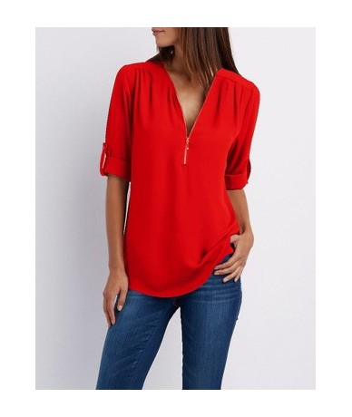 Zipper Short Sleeve Women Shirts Sexy V Neck Solid Womens Tops Blouses Casual Tee Shirts Tops Female Clothes Plus Size - Red...