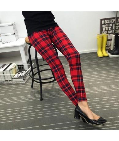 Women Leggings Ninth Casual Pants Plaid Flowers Print Fitness Leggings Women Slim Leggings Cheap China Flower Leggins - red ...
