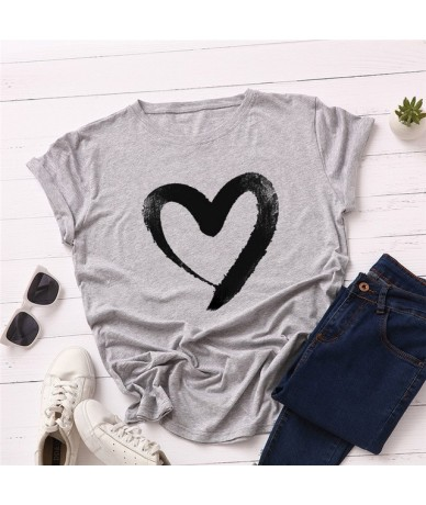 Plus Size S-5XL New Heart Print T Shirt Women 100% Cotton O Neck Short Sleeve Summer T-Shirt Tops Casual Tshirt women shirts...