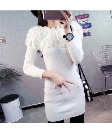 Autumn Fashion Knitted Sweater 2019 New Slim Slash Neck Sweater Wild Lace Flowers Pullover Sweater Woman Tops 65736 - 65736 ...