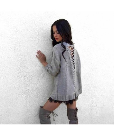 2018 Sexy backless knitting pullover casual fashion bandage autumn winter sweater women tops hollow out jumper Y123 - Gray -...