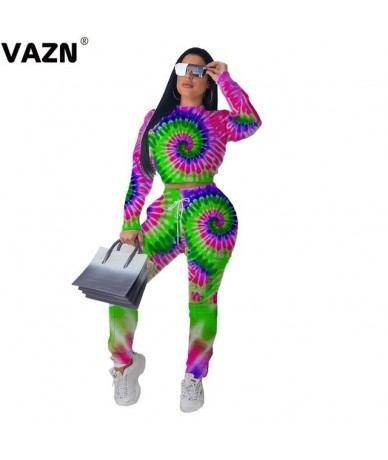 New Color Print Sexy Party Solid Full Sleeve Long Pants Elastic Women 2 Piece Set - Green - 5J111229999565-2