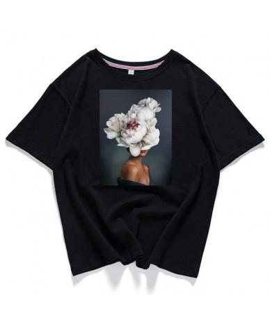 95% cotton bloom flower feather women t -shirt 2019 summer short sleeve round neck harajuku printing tee Casual fashion Fema...