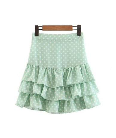 women sweet ruffled dots print mini skirt back zipper fly A line stylish female casual cute skirts fladas mujer BA622 - gree...