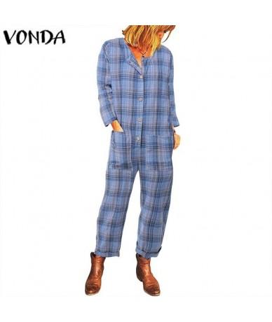 Overalls For Women Plaid Rompers 2019 Autumn Vintage Long Sleeve Playsuits Cotton Pants Long Jumpsuits Femme Pantalon 5X - B...