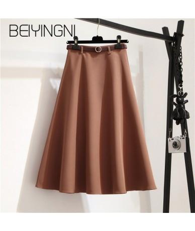 Summer Sashes A-line Skirts Women Solid Elegant Kpop Tutu Skirts Office Lady Umbrella Midi Skirt Vintage Faldas Mujer - Khak...