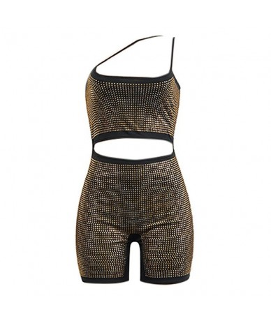 Sexy Women Bodycon Rompers Glitter Rhinestones Spaghetti Strap Front Cutout Back Zipper Playsuit Clubwear Short Jumpsuit Rom...