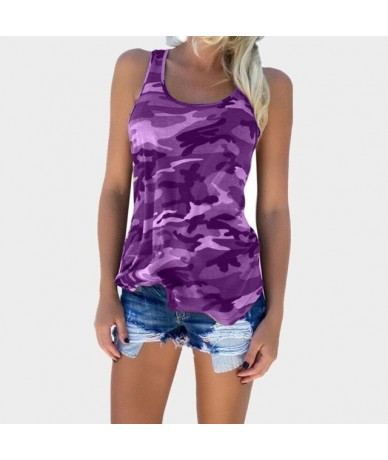 Oversize 5XL Camouflage Women T Shirt Fashion O-neck Sleeveless Tank Tops Female Tank Vest Casual Girls Print Tee Tops - Pur...