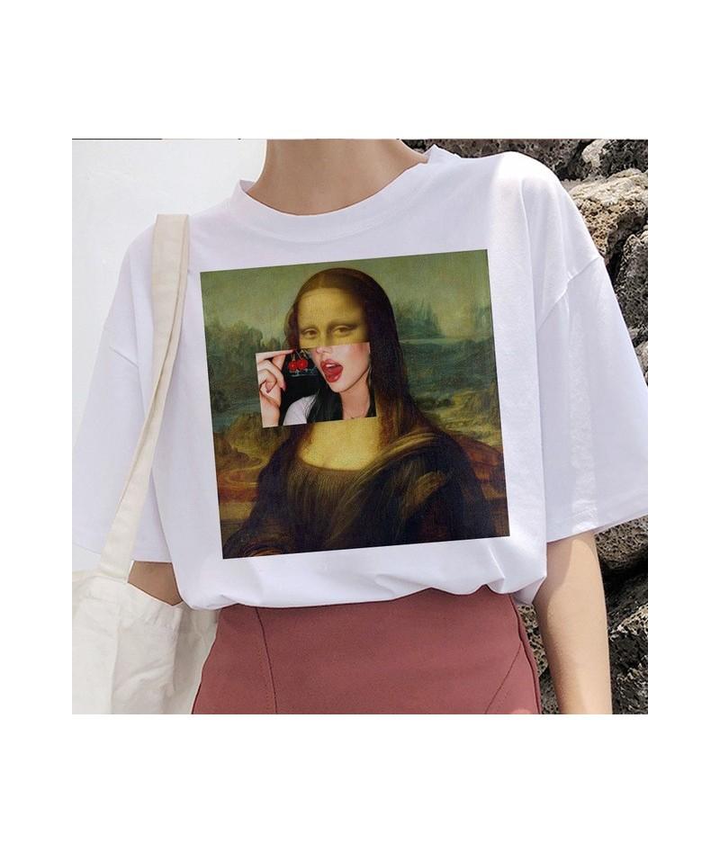 mona lisa t shirt women female streetwear dog korean harajuku funny tshirt Graphic ulzzang grunge t-shirt femme Casual hip h...