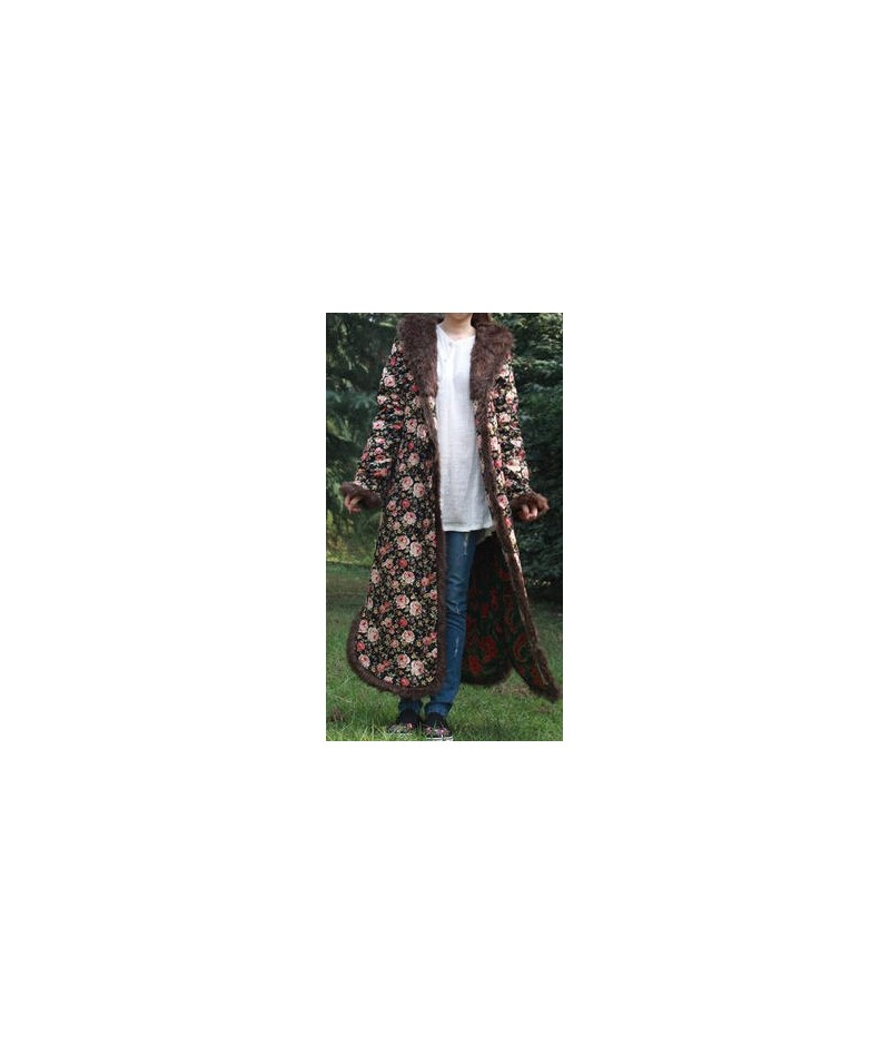 Folk Style Winter Coat Jacket Jaqueta Feminina Fur Collar Long Dust Coat Windbreaker Trench Coat Vintage Cotton-Padded Cloth...