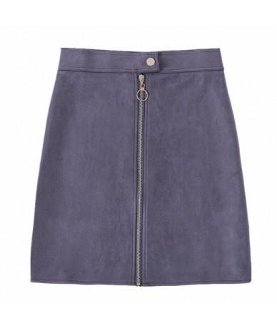 2019 Autumn New Arrival Women Suede Elegant Pencil Mini Skirts High Waist Empire Harajuku Sheath Sexy Wrap Skirts Womens - G...