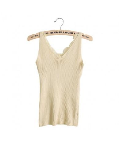 Sexy Women Plain Camisole Lace Splicing Double V-neck Vest Slim Sling Camis - Apricot - 4S3919862376-5