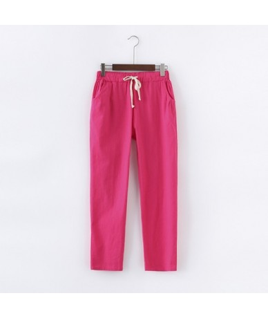 Cotton Linen Pants for Women Trousers Loose Casual Solid Color Women Harem Pants Plus Size Capri Women's Summer - Rosered - ...