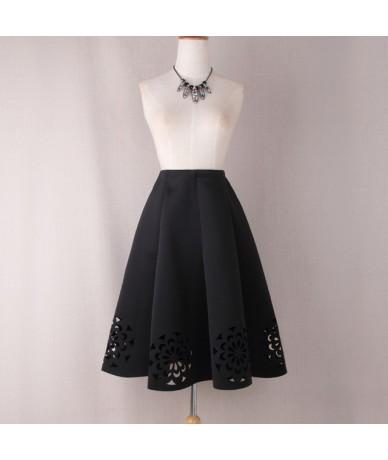 Midi Skirt 2019 Elegant Vintage Floral Crochet Black White Red Women High Waist A Line Zipper Sun Skirts - Black - 493871000...