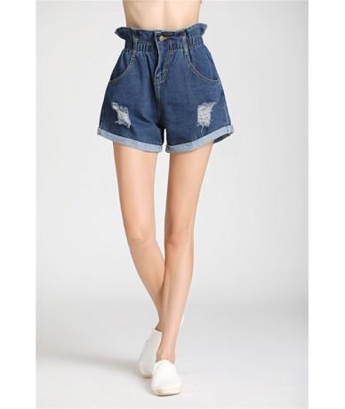 plus size Women's Shorts Summer Korean stretch High Waist hole Jeans Short Loose ripped Wide Leg Denim Shorts Female - Blue ...