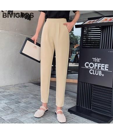 2019 New Spring Summer Women Fashion Suit Pants Chaos Linen Casual Harem Pants OL Ladies Straight Carrot Pants Women - Beige...