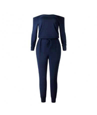 2019 Sexy Women Jumpsuit Party Rompers Black Off Shoulder Jumpsuit Women Long Sleeve Romper Skinny Rompers Trousers - Blue -...