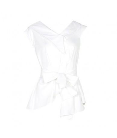 Sleeveless Sashes Tunic Women's Blouses Shirts Summer V Collar Black Khaki Irregular Loose Shirt Tops Casual - white - 4F412...