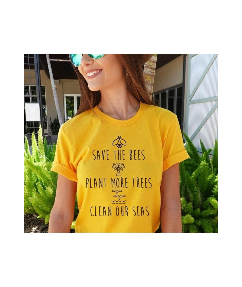 save the bees plant more trees clean our seas Women tshirt Cotton Casual Funny t shirt Lady Yong Girl Top Tee Drop Ship PY-2...