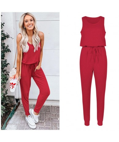 Sexy Sleeveless Jumpsuit Women Long Romper 2019 New Summer Women Lady Jumpsuit Coveralls Sexy Female Black Bow Jumpsuits - R...