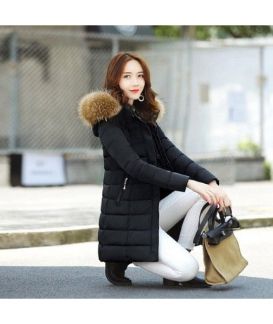 New Big Fur Winter Coat Thickened Parka Women Stitching Slim Long Winter Coat Down Cotton Ladies Down Parkas Winter Jacket W...