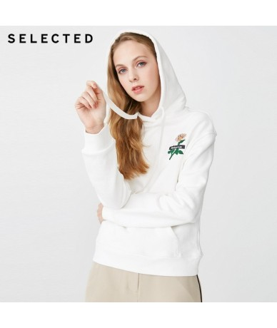 Women's Spring Cotton-rich Embroidered Hoodie S 41914D514 - OPTIC WHITE - 4S3004366765