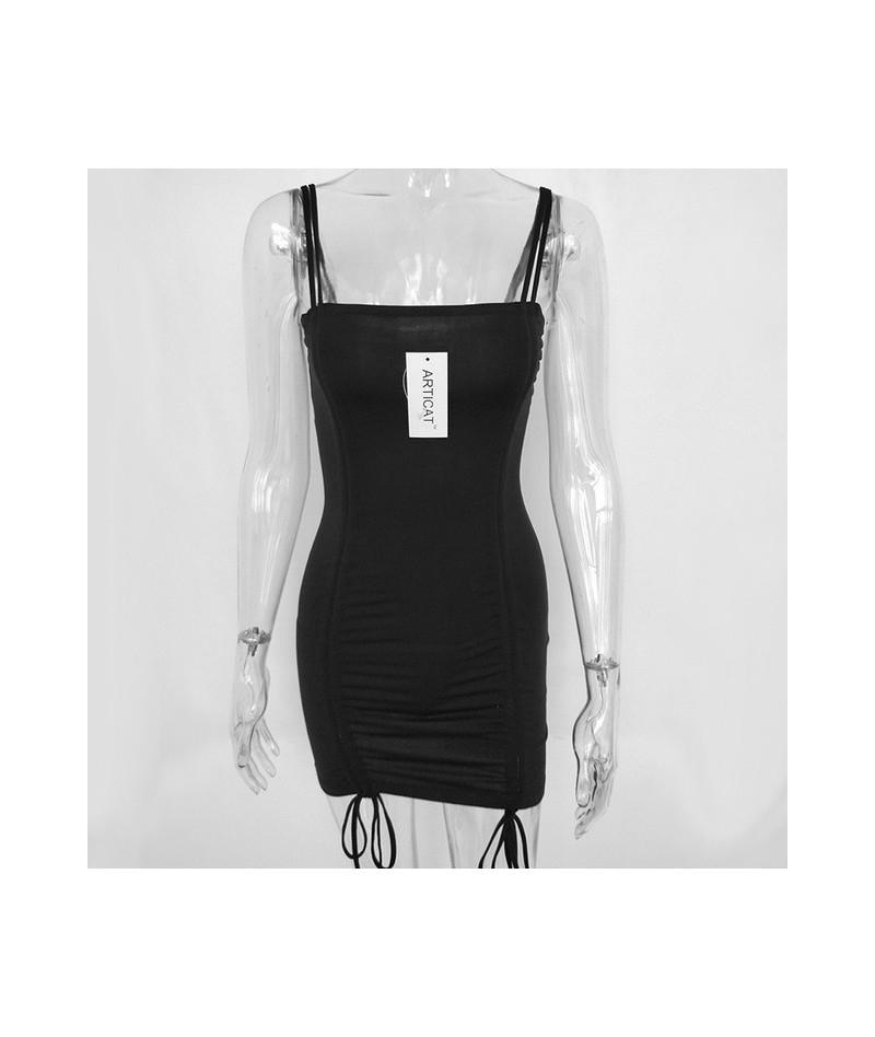 Spaghetti Strap Sexy Backless Women Summer Dress 2019 Strapless Bodycon Bandage Party Dresses Vestidos Club Mini Dress - Bla...