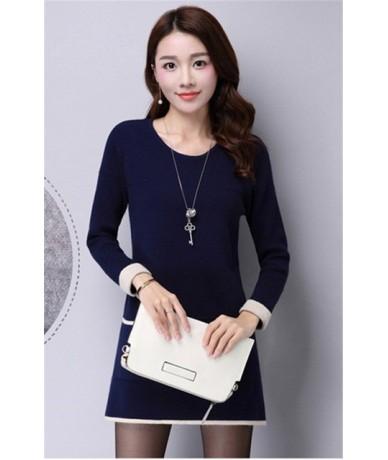 Women Knitted Sweater Dress Autumn Winter Korean Pullover Lady Casual Long-Sleeve Knitting O-Neck Sweaters Elegant Vestido W...