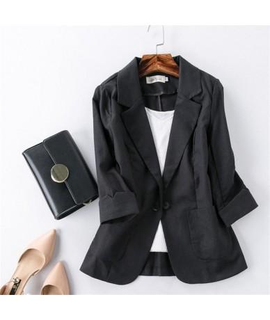 Cotton Linen Blazer Women Long Sleeve Plus Size Blazer Suit Jacket Female Elegant Office Ladies Elegant Slim Blazer Women Q1...