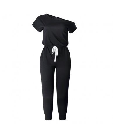 Off Shoulder Short Sleeve Jumpsuit Women 2019 Summer Pockets Drawstring Solid Black Casual Rompers Streetwear Overalls - Bla...