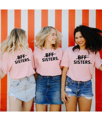 1pcs BFF SISTERS Letters Printing Casual Tee Solid Color Best Friends Matching T-Shirt Girls Fashion Tumblr Best Sister Tee ...