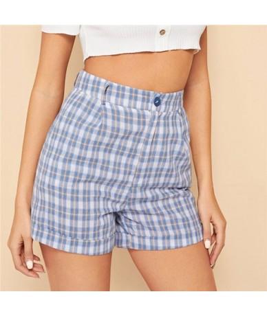 Blue Casual Cotton Cuffed Hem High Waist Plaid Shorts Women Summer Highstreet Preppy Zipper Fly Button Mini Shorts - Blue - ...