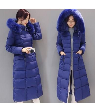 Women Coat Jacket Warm Woman Parka Winter Jacket Hooded Fur Collar Mid-Length Down Cotton Jacket Overcoat Plus 4XL K638 - bl...